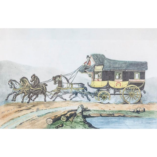 Vintage French Horse and Carriage Etching - Image 6 of 8