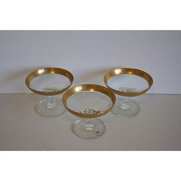 Set of 3 Three Dorothy Thorpe Gold Rim Compotes - Image 2 of 3