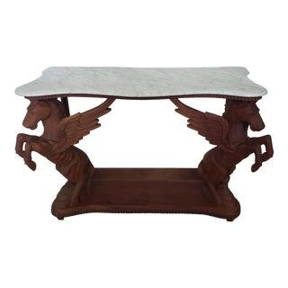 1960s Art Nouveau Wood and Marble Pegasus Console Table For Sale