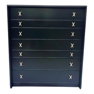 1940s Paul Frankl for John Stuart - 7 Drawer Black Lacquered Highboy For Sale