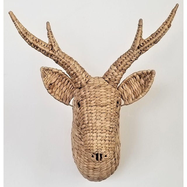 Offering a fantastic raffia or sea-grass stag wall sculpture done in the style of Mario Lopez Torres. This contemporary...