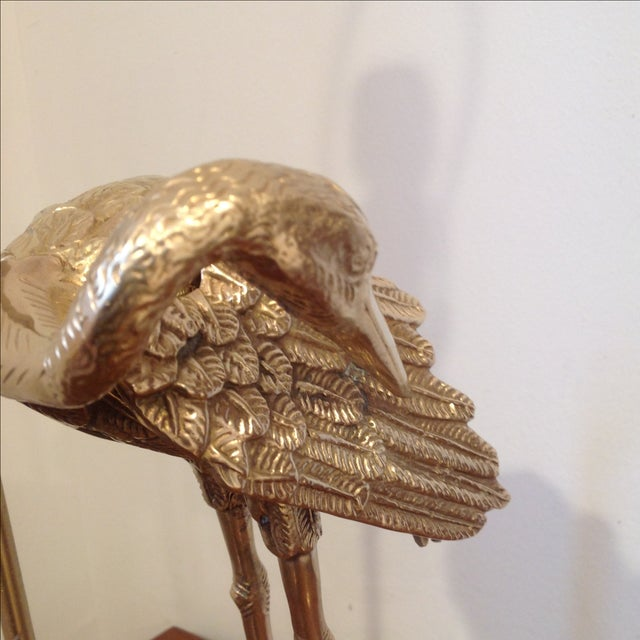 Solid Brass & Carved Wood Herron Lamp - Image 9 of 11