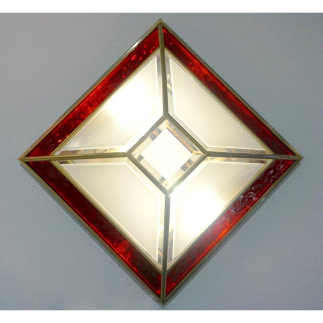 1950s Italian Art Deco Style Red White Frosted Glass Sconces/Flush Mounts - a Pair For Sale In New York - Image 6 of 9