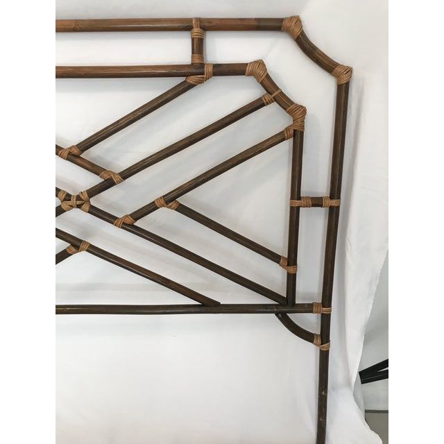 Mid 20th Century Vintage Chippendale Double or Queen Bamboo Pagoda Headboard For Sale - Image 5 of 9