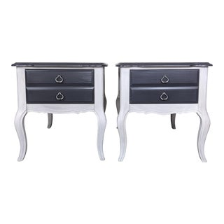 1970s French Cabriole Nightstands - a Pair For Sale