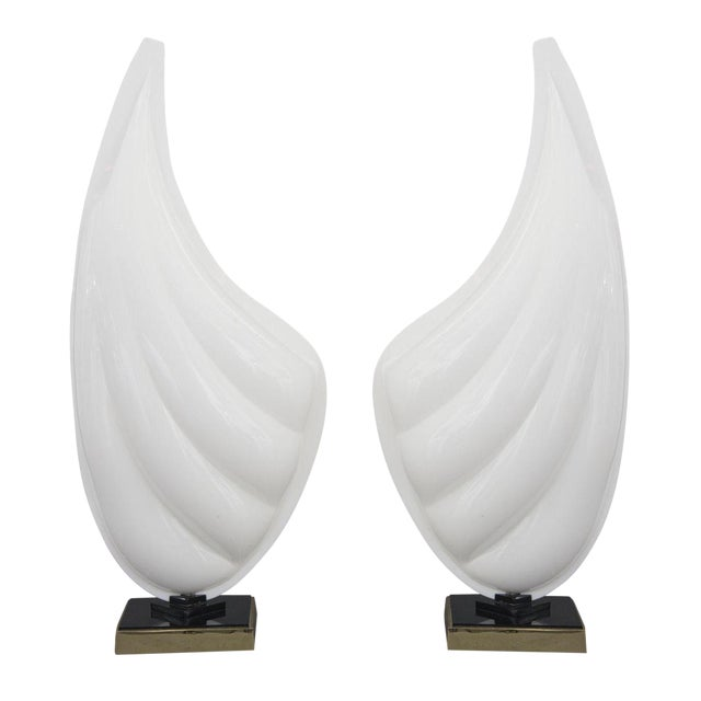 Signed Pair of Mid Century Modern Rougier Lucite / Resin and Brass Sea Shell Lamps - Image 6 of 6