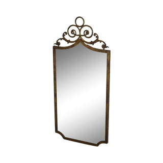 French Louis XV Style 1960's Vintage Gold Painted Metal Wall Mirror For Sale
