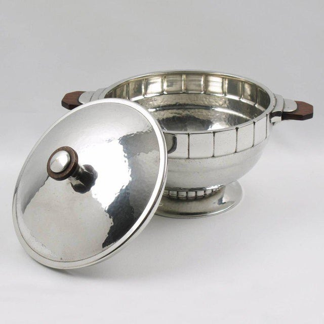 Art Deco Pewter Art Deco Modernist Tureen Covered Dish Centrepiece by h.j. Geneve For Sale - Image 3 of 9