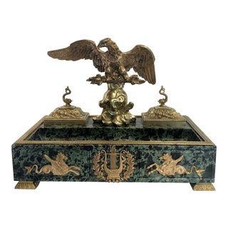 Magnificent Antique 19th Century Bronze Eagle and Marble Inkstand. For Sale