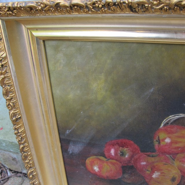 """""""Basket of Apples"""", Oil Painting on Canvas - Image 3 of 8"""