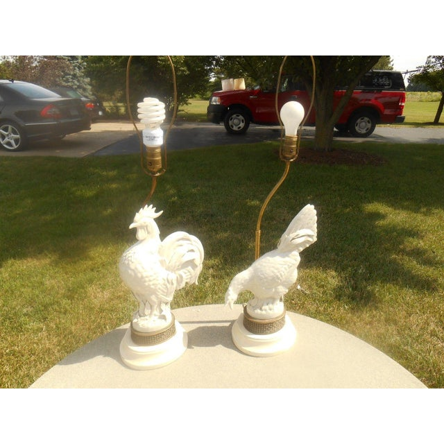 Mid Century Porcelain Rooster Table Lamps - Pair - Image 4 of 6