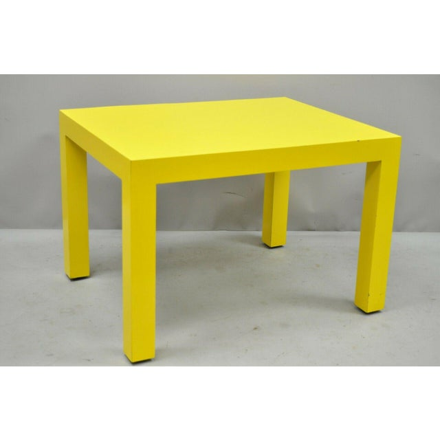Thayer Coggin Milo Baughman yellow parsons formica laminate occasional table. Item features yellow formica/laminate frame,...