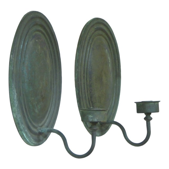 Vintage Classical Verdegris Bronze Oval Sconces for Candles - a Pair For Sale