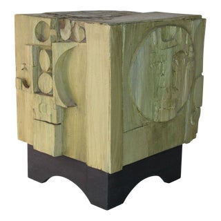 1970s American Studio Craft Mixed Media Cube Table For Sale
