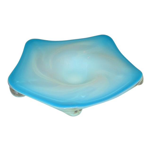 Murano Glass Hand Blown Blue, White and Clear Catchall Bowl, Italy For Sale