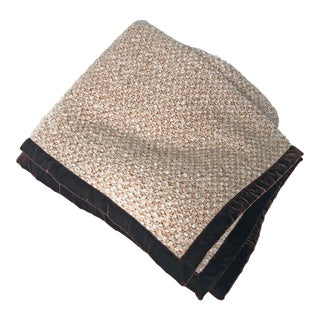 Tessellate Bouclé Throw With Velvet Trim For Sale