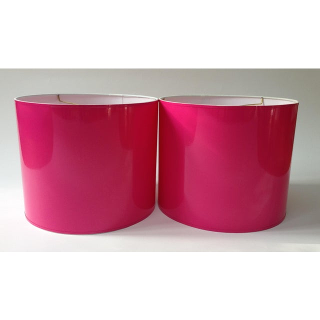 Lampshade Designs Large High Gloss Hot Pink Drum Lamp Shade For Sale - Image 4 of 5