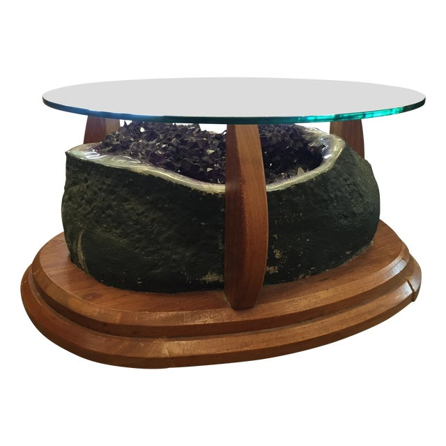 Amethyst Crystal Geode Coffee Table For Sale