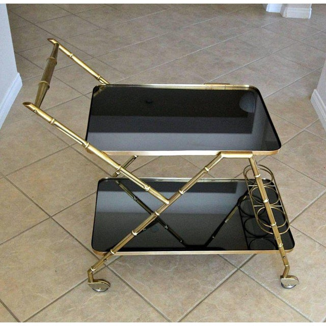 Gold Italian Brass Faux Bamboo Bar Tea Cart For Sale - Image 8 of 13