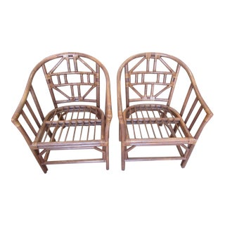 Rattan Asian Inspired Tub Chairs - a Pair For Sale