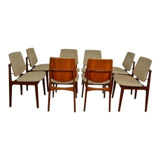 Fantastic Set of Eight Arne Hovmand Olsen Danish Teak Dining Chairs