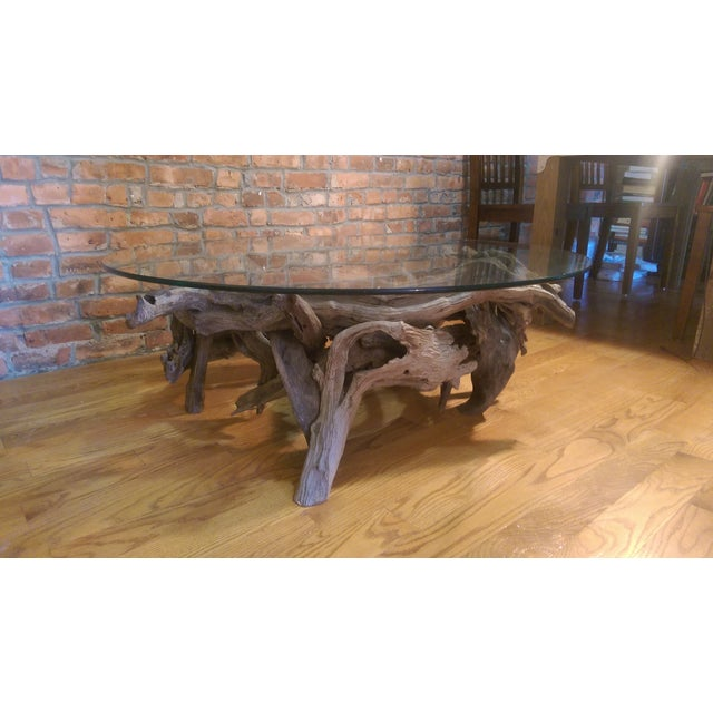 Driftwood Glass Top Coffee Table - Image 6 of 7