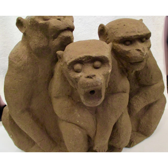 1990s Water Fountain in Stoneware Three Monkeys For Sale - Image 5 of 12