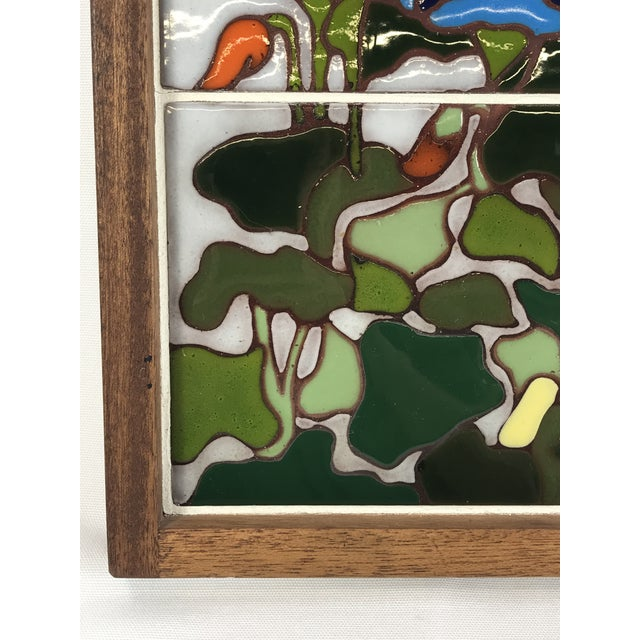Late 20th Century 20th Century Art Nouveau Tile Artwork in Wood Frame by Roberta Goodman For Sale - Image 5 of 13