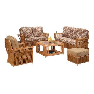 "Presidents Stick Rattan ""Nantucket"" 5 Piece Set Living Room Set For Sale"