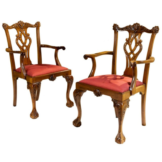 Set of 10 Ball and Claw Chinese Chippendale Style Dining Chairs For Sale - Image 4 of 12