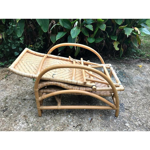 Tan Vintage Rattan Bamboo Adjustable Chaise Lounge Chair For Sale - Image 8 of 10