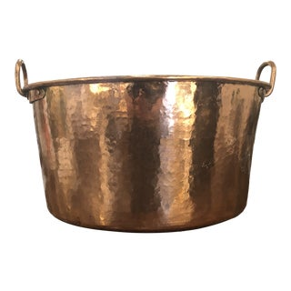 Antique Rustic Hammered Copper Cauldron With Handles For Sale