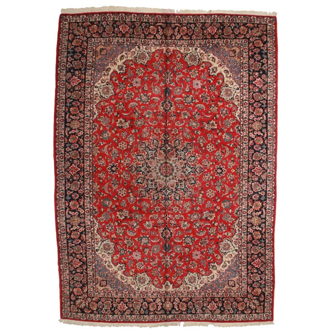 RugsinDallas Vintage Hand Knotted Wool Persian Isfahan Rug - 11′9″ × 16′7″ For Sale