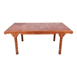 1970s Drexel Heritage Hollywood Regency Chinoiserie Extension Dining Table For Sale