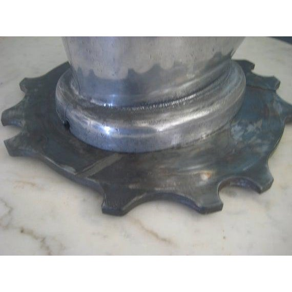 1930s Vintage Art Deco Period Aluminum Head Form on Dragster Clutch Plate Base Sculptural Piece For Sale - Image 4 of 7