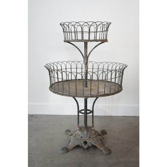 French Two-Tiered Iron Planter For Sale - Image 3 of 9