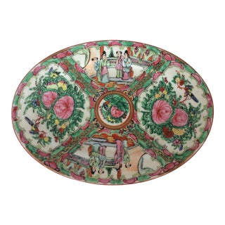 Rose Medallion Oval Serving Dish For Sale