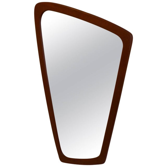 1960s Eccentric Shaped Danish Teak Mirror For Sale - Image 5 of 5