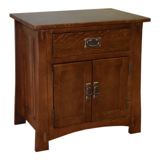 Crafters and Weavers Mission Style Solid Oak Nightstand - Walnut Stain For Sale