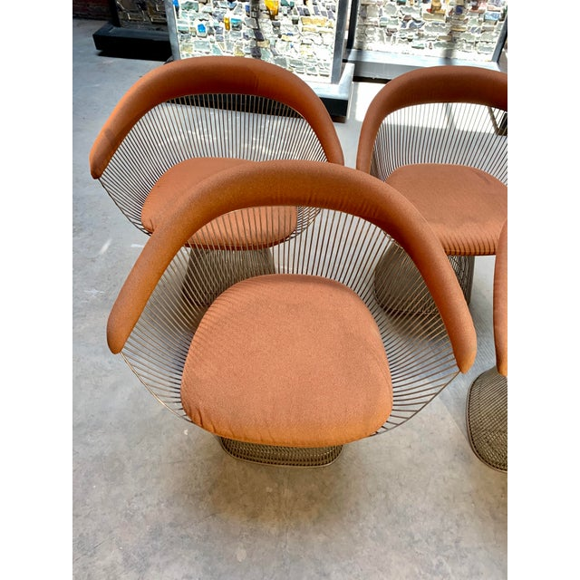 Burnt Orange 1960s Original Platner Arm Chairs for Knoll International - Set of Four For Sale - Image 8 of 12