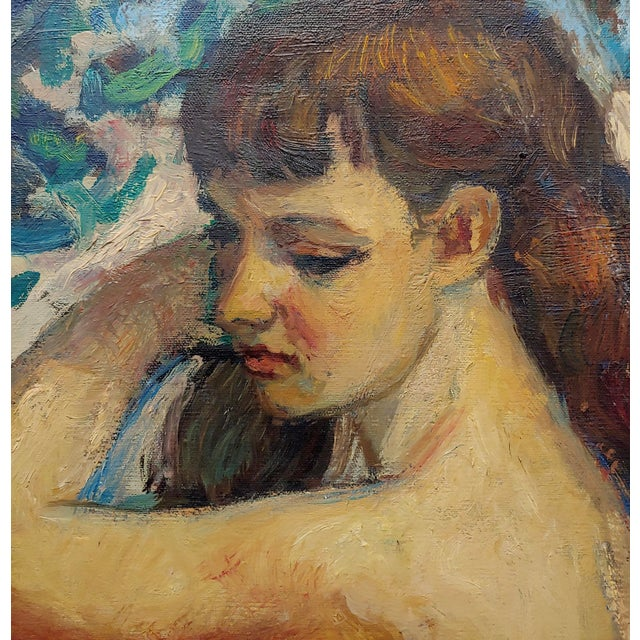 "1950s Robert Frame ""Young Nude Woman Seated"" Oil Painting For Sale - Image 5 of 9"
