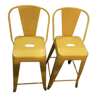 Bright Yellow Metal Bar Stools - A Pair For Sale