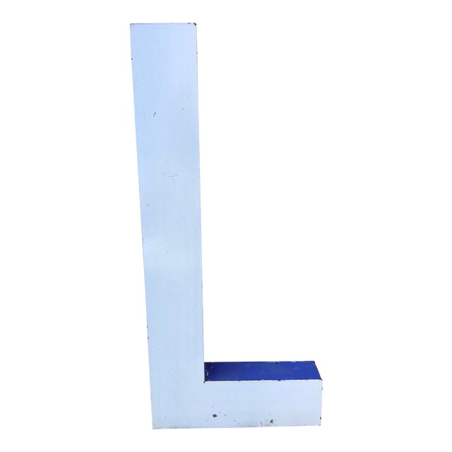"Large Vintage Blue & White Enamel ""L"" Building Signage For Sale"