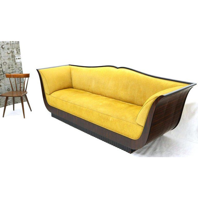 Large French Art Deco Rosewood Sofa in Gold Upholstery Scalloped Edge For Sale - Image 10 of 13