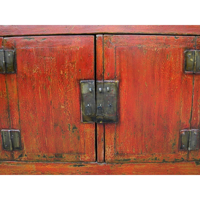 1950s Asian Modern Red Dongbei Wedding Cabinet For Sale In Boston - Image 6 of 7