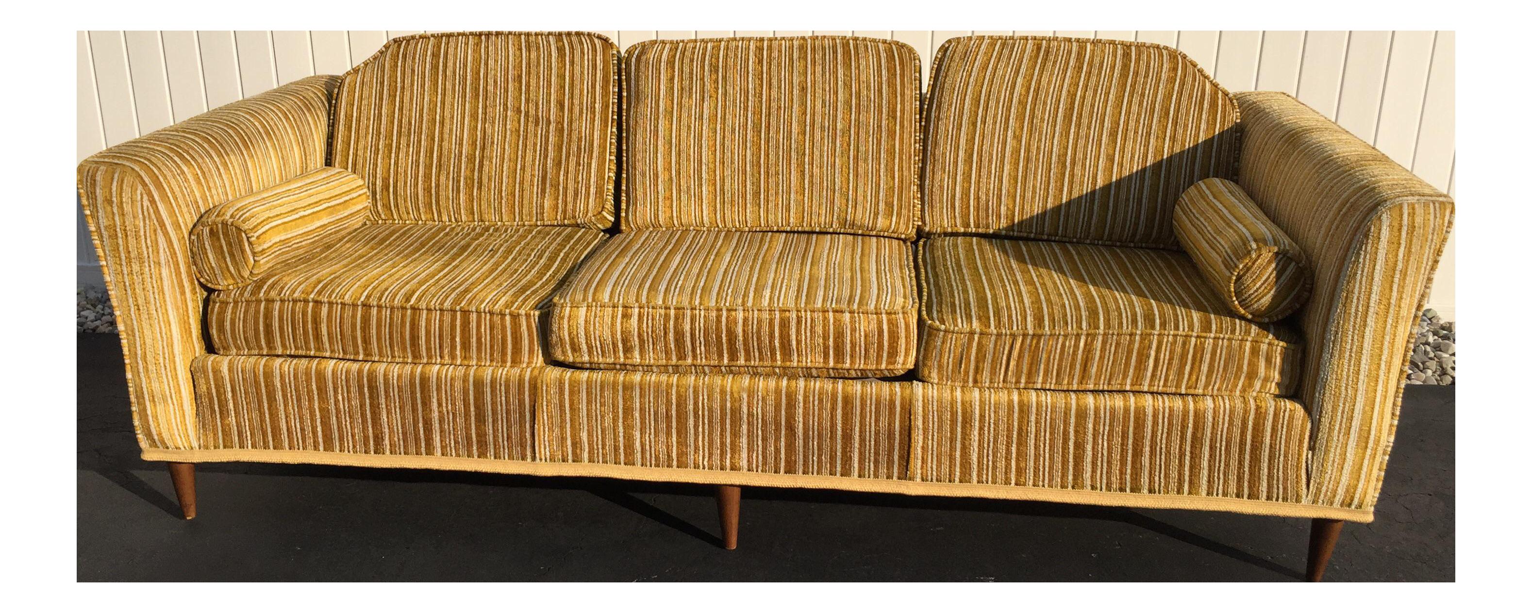 Kroehler Royale Mid Century Gold Striped Sofa