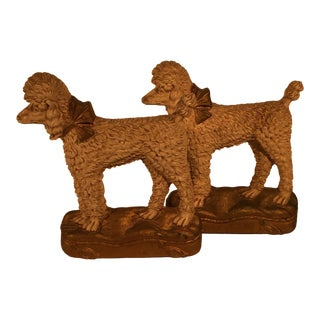 White Poodle Bookends - a Pair