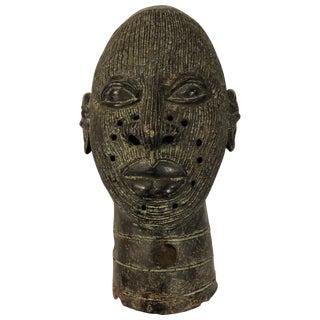 African Benin Bronze Warrior Head For Sale