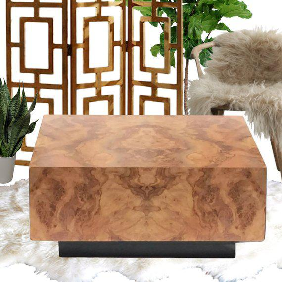 "Milo Baughman Vintage Burl Wood Coffee Table Floating Cube Pedestal Cocktail Table - 36"" For Sale - Image 4 of 13"