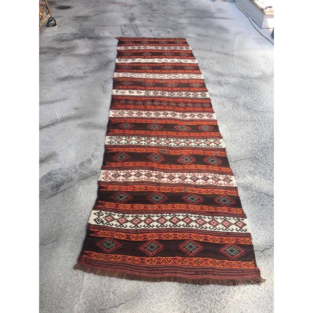 """Embroidered Kilim Runner - 2'8"""" x 9'2"""" For Sale - Image 4 of 4"""